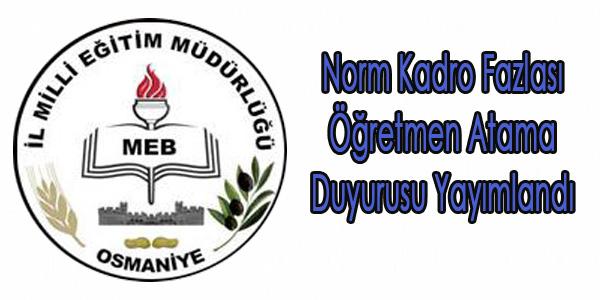 Norm Kadro Fazlası Öğretmenler Atama Duyurusu